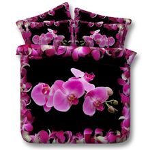 Purple orchids on striking black background floral bedding set