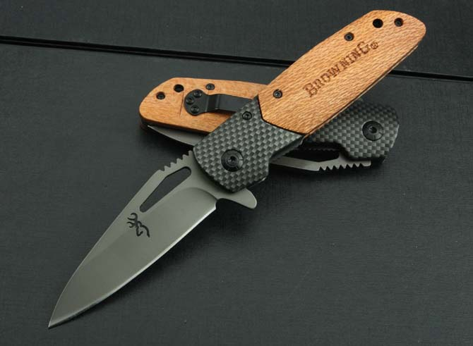 Browning-X28 New Type Small Folding Pocket Combat <strong>Knife</strong> With Wood Handle