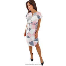 Wholesale Nice Long Printing V Neck Ladies Office Wear Dresses