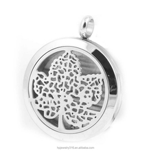Aromatherapy tree of life essential oil diffuser necklace pendant round perfume locket charm Stainless steel diffuser jewelry