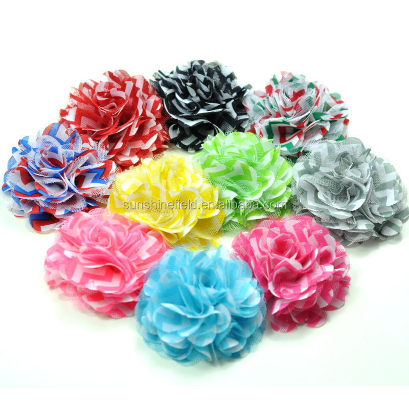 "3"" Chevron Chiffon Flowers Fabric Flowers"