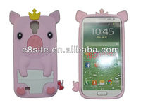 Crown Pig Silicon Cover For SamSung i9500 Galaxy S4