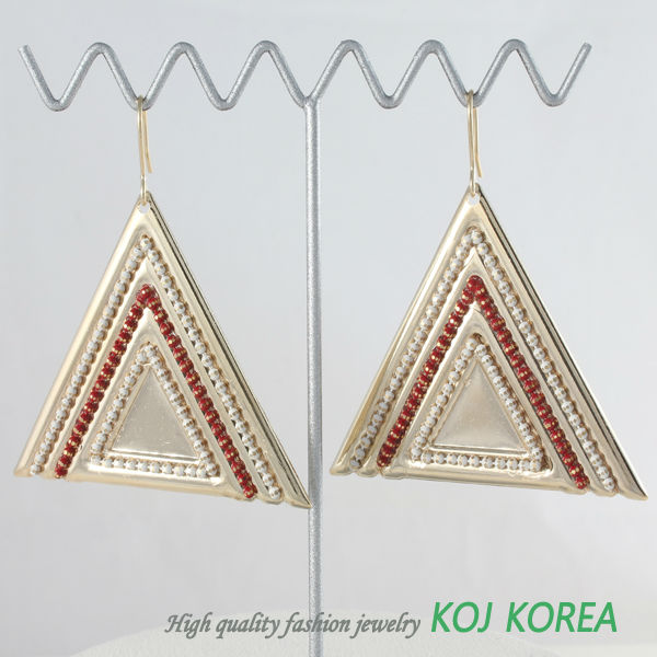 KE-135-2 triangle big size red earrings