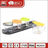 4pcs crystal plastic condiments seasoning box spice glass jar canister cruet set vinegar cruet oil with spoon and tray