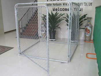 Modular chain link kennel panels for dogs and horses 200*50mm mesh size 4mm diameter 1.8m wide x 2m higher Pre galvanised stee