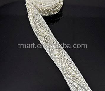 glue on jewel accessories pearl trim strass pearl for dress