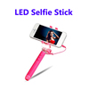 2016 NEW Pocket Selfie Stick with LED Flash Light, LED Selfie Stick with Cable Take