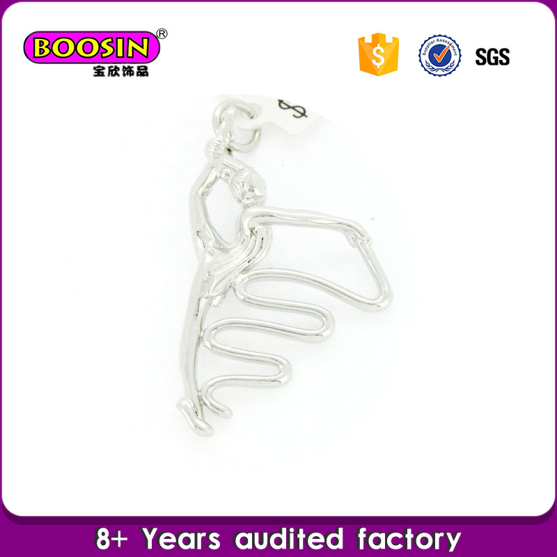 Wholesale Custom Made Silver Rhythmic Gymnastics Girl Charm Jewelry