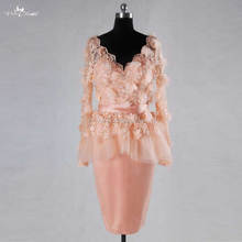 RSE728 Long Sleeve Lace Blush Pink Short Wedding Dress