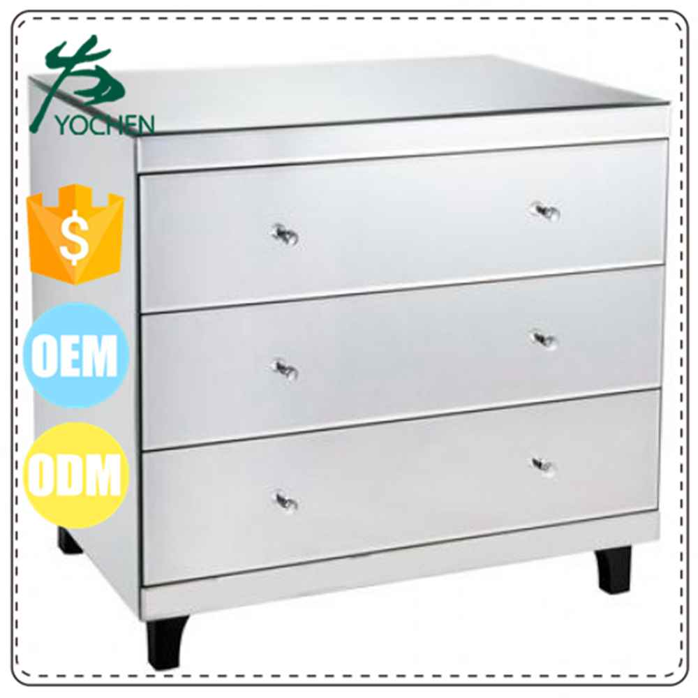 Modern Silver Grand 4 Drawers Mirrrored Chest