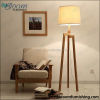 Cotton fabric lampshade modern wood base floor standing tripod lamp