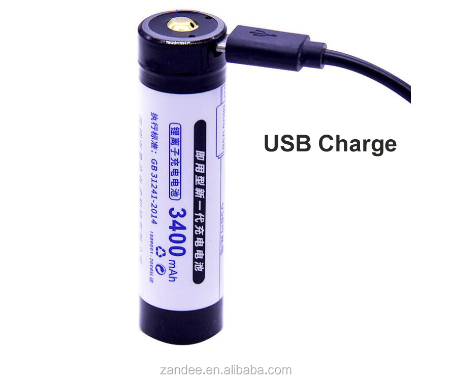 18650 USB lithium rechargeable battery, 3.7v high capacity 3400mah support USB Charge