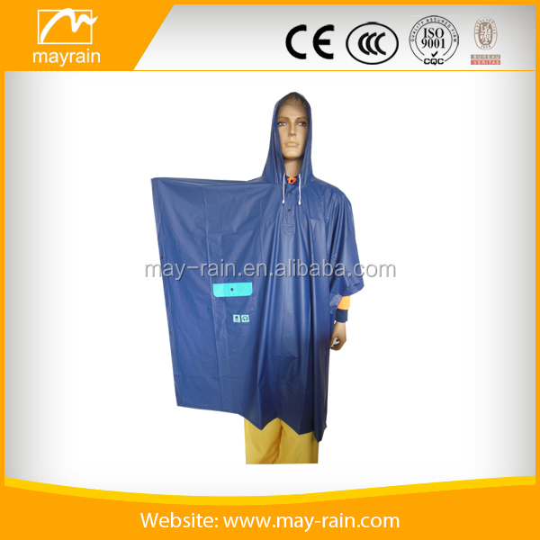 2017 Customized High quality adult Pvc polyester long hooded men rain coat,Rain poncho CE Standard