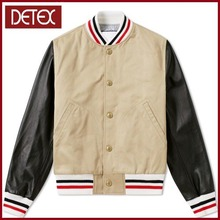 High Quality Mens Plain Cotton Varsity Jacket With Leather Sleeve