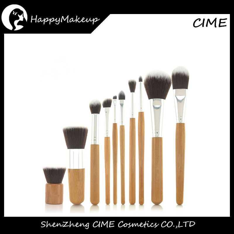 10PCS Bamboo Handle Aluminlum Makeup Brushes Set With Sack Bag