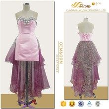 Pink & mauve beaded satin organza elegant backless sexy nighty dress for women