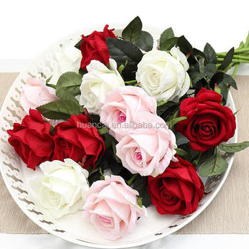 Factory Wedding Decoration Artificial  8cm Heads Single Stem rose Silk Flower