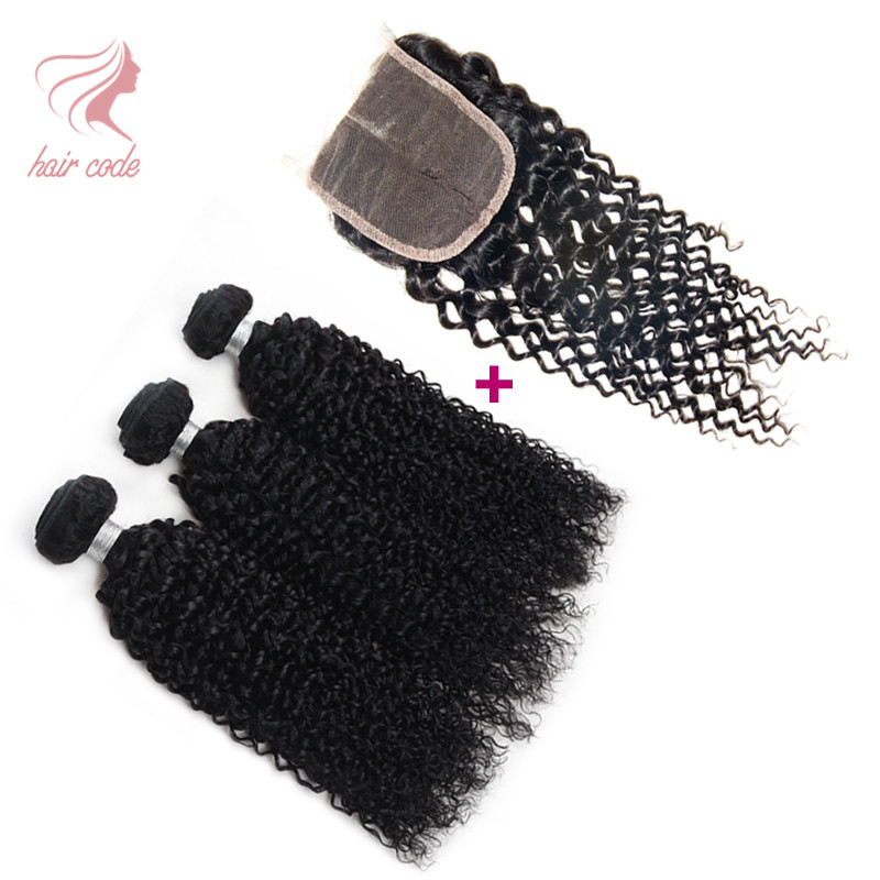 Brazilian Curly Virgin Hair With Closure 3 Pcs Grade 7A Unprocessed Virgin Hair With Closure Brazilian Hair With Lace Closure