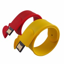Bulk pendrive 32GB 64GB flash drive slap bracelets with your logo for cooperation