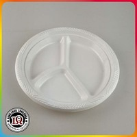 Disposable three compartments wholesale white plastic plate
