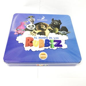 promotional metal tin packaging box with accessories inside for kids toy and gift