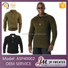 wholesale black acrylic quarter zip military style pullover sweater