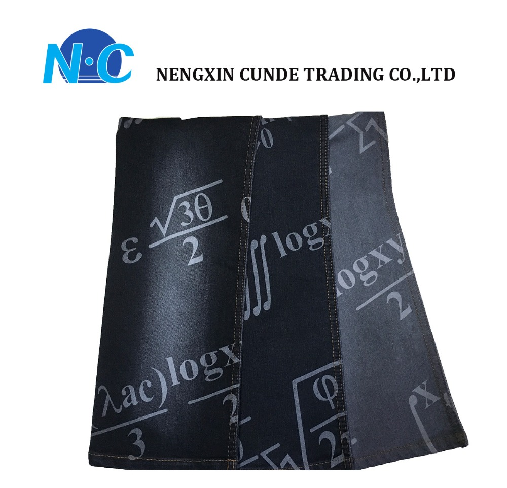 China factory 100% cotton denim fabric printed denim fabric smart function pattern for jeans