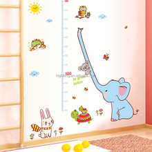 Cute Elephant Animals Stack Height Measure Wall Stickers Decal Kids Adhesive Vinyl Wallpaper Mural Baby Kids Room