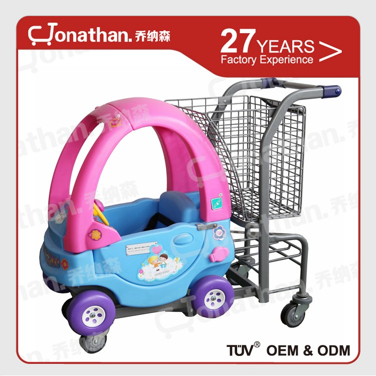 TQC-WEM moving Plastic and steel supermarket trolley toy for Kids