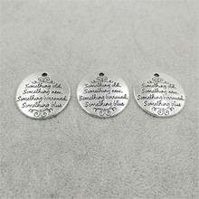 Wholesale custom letter engraving zinc alloy round charm and pendants