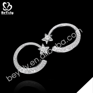 Boutique moon and star design cz clip 925 silver earrings