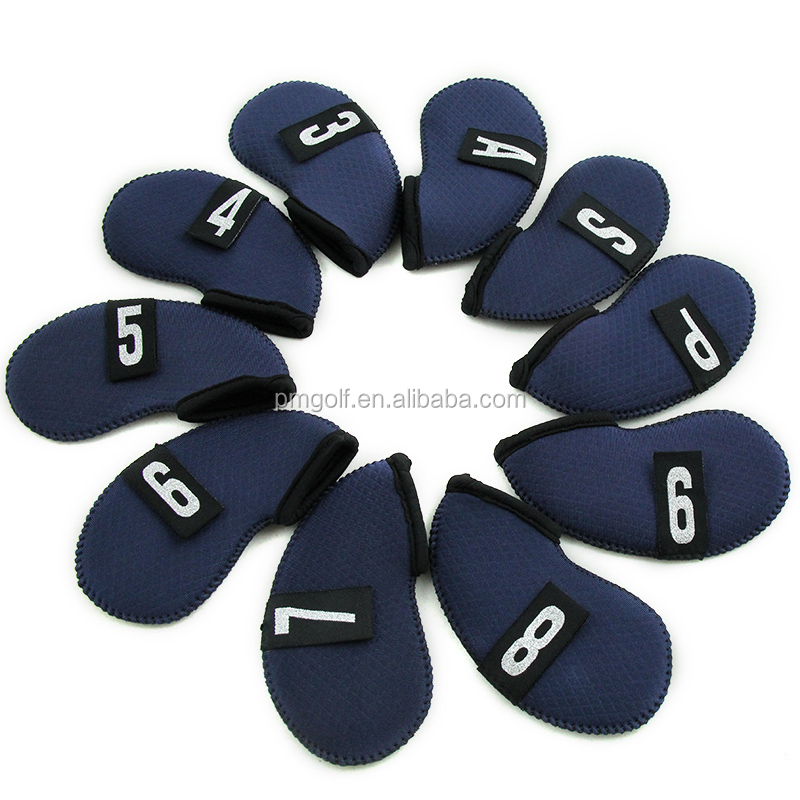 10x Golf dark blue Club Iron Covers Headcovers Neoprene Protector Golf Head Covers, Custom Made