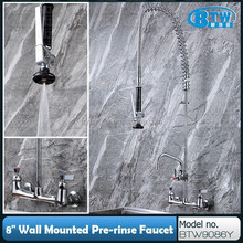 "8"" Wall Mounted Commercial Kitchen Faucet with 6"" Swing Nozzle"