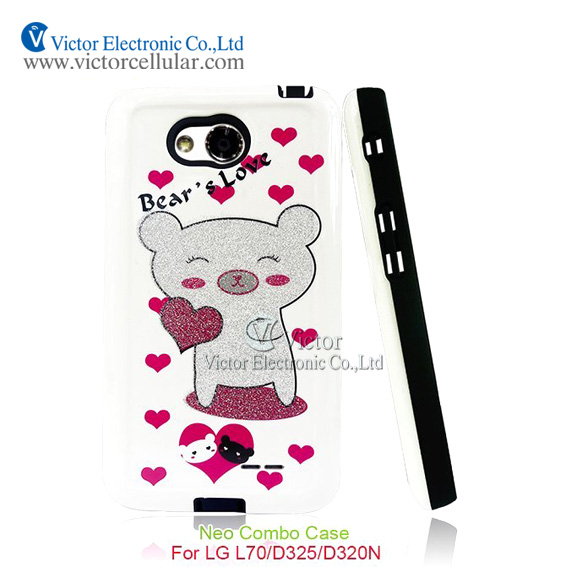 New Products cute animals design Combo Case for LG L70 D325 D320N