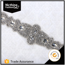 Fashion High Quality Rhinestone Applique Bridal Accessories Crystal Rhinestone Beaded Applique Wedding Dress Sash Belt NRA161