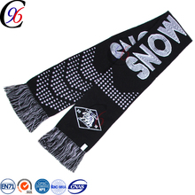 Chengxing brand 2017 jacquard pattern woven fabric spandex striped acrylic soccer football fan knitting scarf