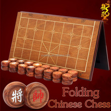 Antique Wooden Chinese Chess XiangQi Set with Custom Handmade Chess Board