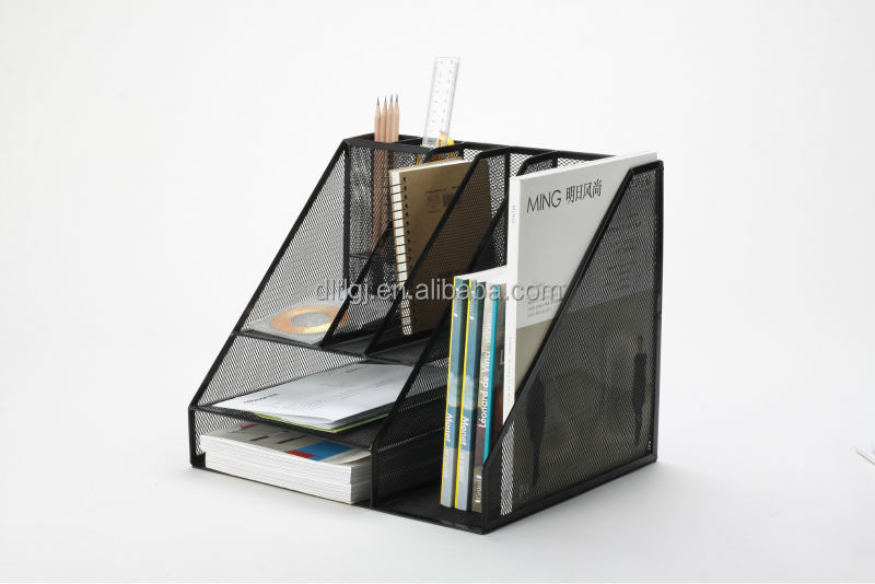 metal wire power coated office desk file organizer