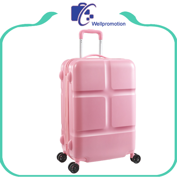Pink spinner wheels ABS/PC travel luggage suitcase case for women