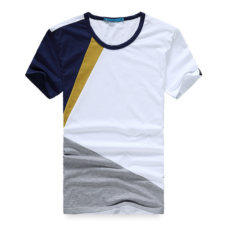 China Custom 95% cotton 5% Lycra Mens Short Sleeve Four Colors Combination Plain T Shirt