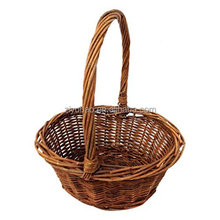 "Oval Shaped -SMALL- Willow Handwoven Easter Basket by Royal Imports 6""x8"" with braided rim - with Handle and Plastic Insert"