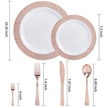 125 pcs set stocked birthday party Lace Design colored luxury rose gold disposable plastic <strong>plates</strong>
