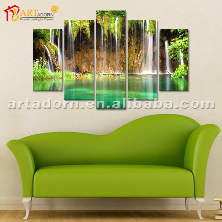 Acrylic Canvas Landscape Oil Abstract Waterfall Paintings for Home