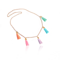 fashion layering gold plated Tiny colorful chain tassel necklace