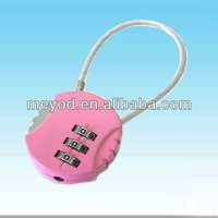 3-dial cute cipher lock,digital lock. cable lock