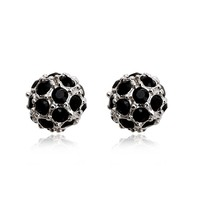 OUXI boll shaped black 925 sterling Silver&crystal fashion earrings for wholesale from china Y20023