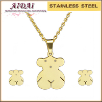 2016 New Design tousingly Bear Jewelry Sets fluorescence oily Butterfly Decorative Stainless steel Bear Jewelry