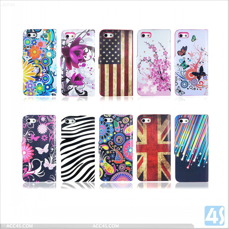 For iphone accesory colorful Printing holster mobile cases 2013 new P-IPH5CASE103