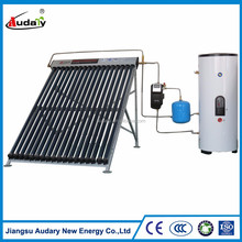 Split pressurized solar water heater with copper coil heat exchanger