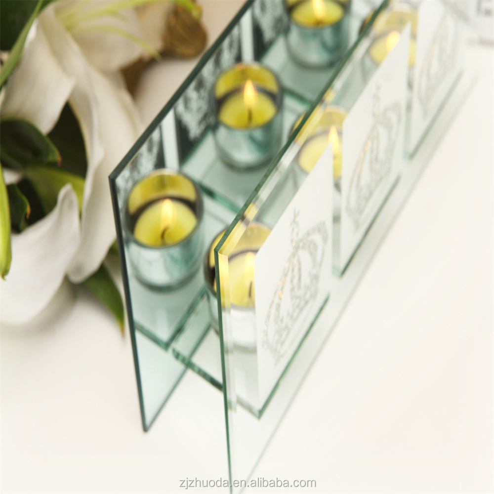 Popular three tips crown glass candle holder